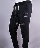 Спортивные штаны мужские на манжетах Reebok черные, Черный, M