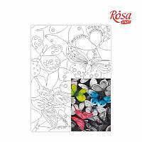 Полотно на картоні з контуром «Метелики», 30*40, бавовна, акрил, ROSA START
