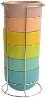 Набор салатников на металлической подставке 6 шт по 400 мл Оселя 24-267-006