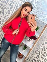 Женский кардиган мелкая машинная вязка на молнии, на рукавах с вышивкой. Цвет красный