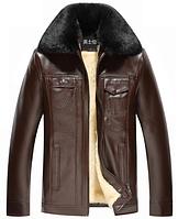 Мужская зимняя кожаная куртка. Модель 6182