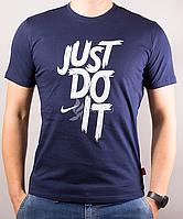 Футболка мужская хлопковая Just Do It синяя с белой надписью, Синий, M