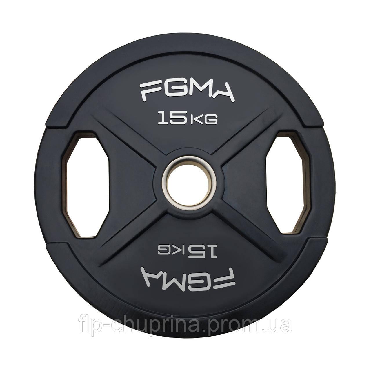 """Диск (блин) для штанги обрезиненный FGMA """"X"""" 15kg"""