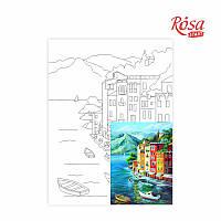 Полотно на картоні з контуром «Морські пейзажі №1», 30*40, бавовна, акрил, ROSA START