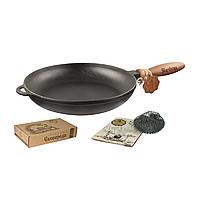 Сковорода чугунная литая Т303 26*4 см с деревянной ручкой