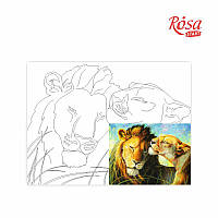 Полотно на картоні з контуром «Тварини №3», 30*40, бавовна, акрил, ROSA START