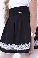 Модная черная женская юбка с бантиком и белым кружевом  тренд 2017