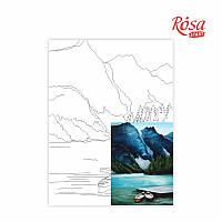 Полотно на картоні з контуром «Пейзаж №29», 30*40, бавовна, акрил, ROSA START