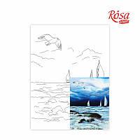 Полотно на картоні з контуром «Морські пейзажі №6», 30*40, бавовна, акрил, ROSA START