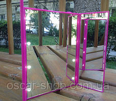 LED Зеркало для макияжа на подставке в виде книжечки (Малиновое)
