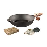Сковорода чугунная литая Т305 26*6 см с деревянной ручкой