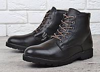 Мужские ботинки кожаные зимние черные завышенные Mustang Португалия, Черный, 45