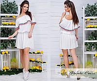 Легкое женское платье, пояс на резинке