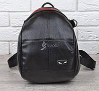 Сумка рюкзак женский черный с красным эко-кожа Tricky backpack трансформер, Черный