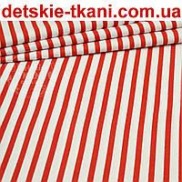 Бязь с красной полоской шириной 6 мм (№ 136).