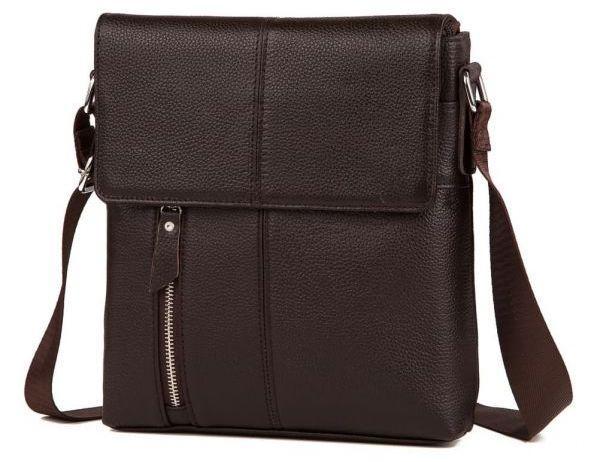 Мужской кожаный мессенджер TIDING BAG; A25-238C, коричневый