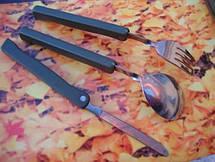 Набор: ложка, вилка, нож Mil-Tec олива / складной с чехлом  (14626000), фото 3