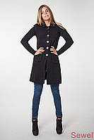 Осеннее вязаное женское пальто