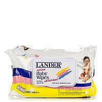 Салфетки детские влажные Lander, 100 шт. /baby wipes, 100 ct, 12 flip to lid