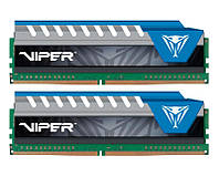 Память 8Gb x 2 (16Gb Kit) DDR4, 2666 MHz, Patriot Viper Elite Blue, 16-17-17-36, 1.2V, с радиатором (PVE416G266C6KBL)
