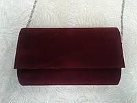 Клатч женский бордовый велюровый (Турция)  .