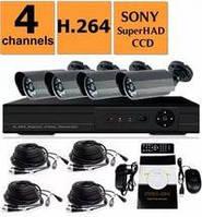 Комплект видеонаблюдения DVR KD-6604kit 4 камеры наружные
