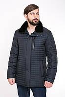 Стеганная мужская курточка с меховым воротником