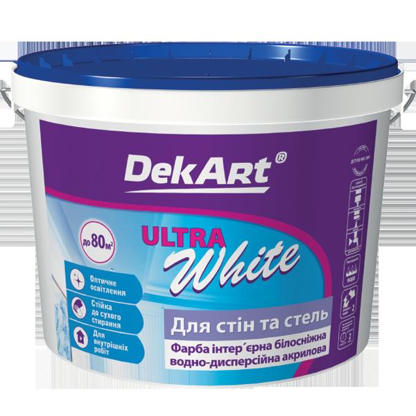 "Краска интерьерная DekArt ""Ultra White"", белоснежная матовая акриловая 20 кг"