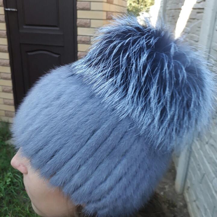 женская вязаная шапка из меха норки и чернобурки цена 1 350 грн
