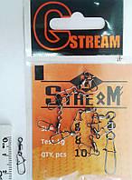 Карабин американка с вертлюгом G.Stream №8  (10 шт)