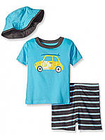 Комплект-тройка Gerber для мальчиков футболка, шорты и панамка с принтом «машинка»