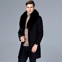 Мужское шерстяное зимнее пальто с натуральным мехом. Модель 6336