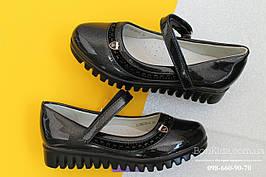 Черные лаковые туфли на девочку тракторная подошва тм Tom.m р. 27,28,29