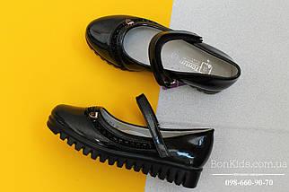 Черные лаковые туфли на девочку тракторная подошва тм Tom.m р. 27,28,29, фото 2