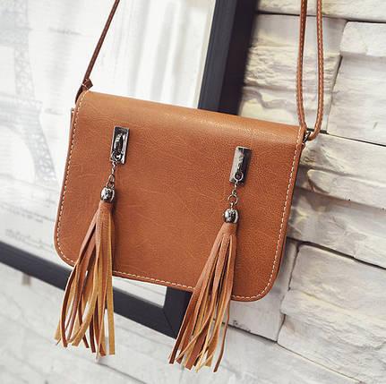 Fashion сумка почтальон с кисточками , фото 2