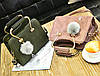Шикарная каркасная сумка с фигурными ручками и помпоном, фото 3
