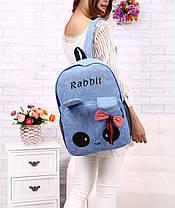 Милый тканевый рюкзак зайчик с глазками и ушками, фото 2