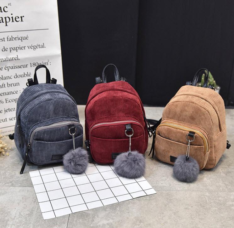 Стильные вельветовые мини рюкзаки с помпоном