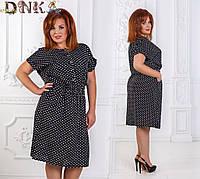 Женское стильное платье MIDI с карманами 1144.1 / батал / черное