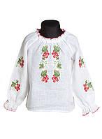 Детская вышитая блузка для девочки из льна. рр. 110-128