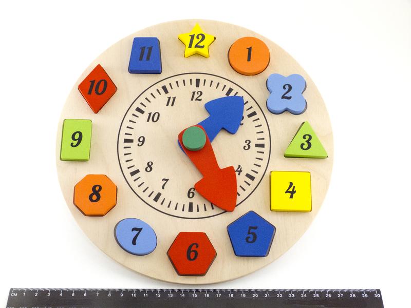 Деревянная игрушка досточка Часы Сортер Розумний лис (90058)