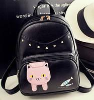 Вместительный городской рюкзак с котиком и рыбками