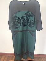 Платье зеленое цветы узор