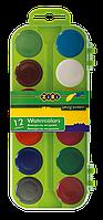 Акварельные краски 12 цветов, пластик. салатовый футляр zb.6521-15