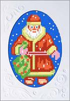 Открытка с канвой, паспарту и мулине Дед Мороз