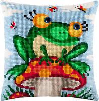 Подушка для вышивания крестом Лягушка на грибе