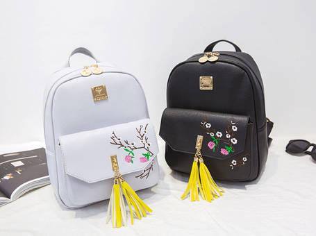Міський рюкзак з пензликами і квітами для модних дівчат, фото 2