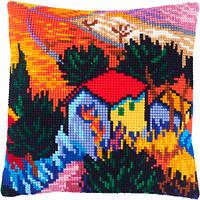 Подушки для вышивания крестом «Пейзаж с домом и работником», В. ван Гог