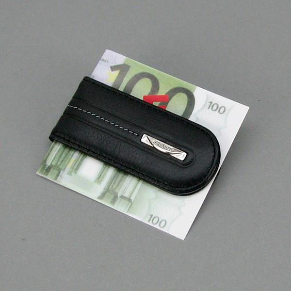 Зажим для купюр кожаный черный Prensiti 77018