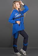Женский спортивный костюм комбинированный двухцветный Армета цвет электрик размер 46,48, фото 3
